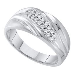 10KT White Gold 0.25CTW DIAMOND FASHION MENS BAND