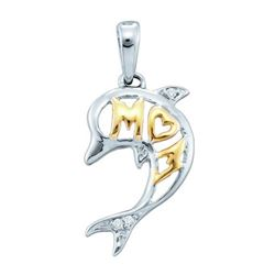 10KT White Gold 0.02CTW DIAMOND DOLPHIN PENDANT