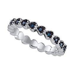 925 Sterling Silver White 0.23CTW BLUE DIAMOND MICRO PA