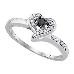 925 Sterling Silver White 0.13CTW DIAMOND HEART RING