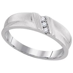 10KT White Gold 0.06CTW DIAMOND MENS FASHION BAND