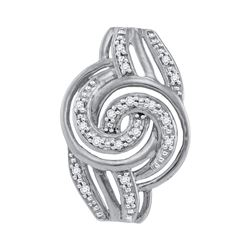 10kt White Gold Womens Round Diamond Concentric Swirl P