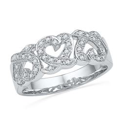 10KT White Gold 0.20CTW DIAMOND HEART BAND