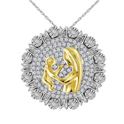 Sterling Silver Womens Round Diamond Yellow-tone Mom Mo
