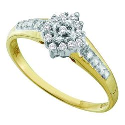 10KT Yellow Gold 0.10CTW-DIAMOND CLUSTER RING