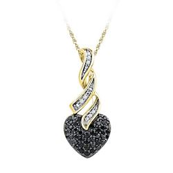 10K Yellow-gold 0.33CTW BLACK DIAMOND FASHION PENDANT
