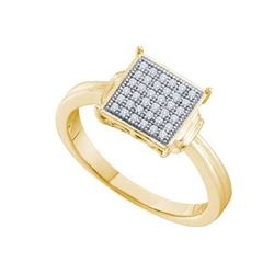 925 Sterling Silver Yellow 0.10CT DIAMOND MICRO PAVE RI