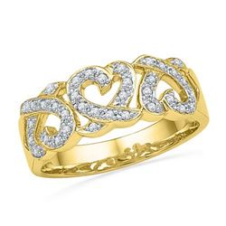 10K Yellow-gold 0.20CTW DIAMOND HEART BAND