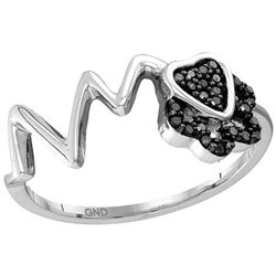 Sterling Silver Womens Round Black Colored Diamond Hear