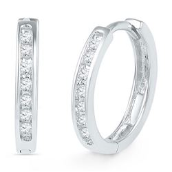 10KT White Gold 0.16CTW DIAMOND HOOPS EARRING