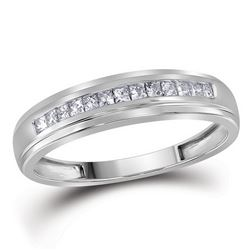 10kt White Gold Womens Princess Diamond Single Row Wedd
