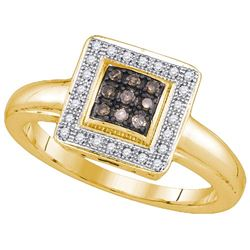 925 Sterling Silver Yellow 0.16CTW DIAMOND FASHION RING