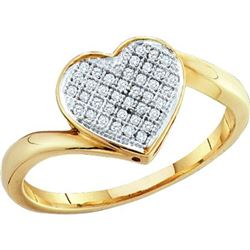 925 Sterling Silver Yellow 0.05CTW DIAMOND HEART RING