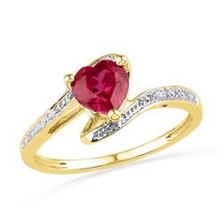10kt Yellow Gold Womens Heart Lab-Created Ruby Solitair