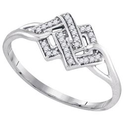 925 Sterling Silver White 0.08CT DIAMOND MICRO-PAVE RIN
