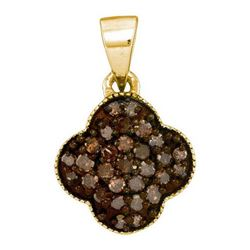 10KT Yellow Gold 0.25CTW COGNAC DIAMOND MICRO-PAVE PEND