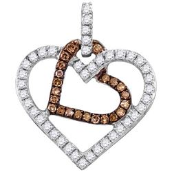 10KT White Gold 0.28CTW COGNAC DIAMOND FASHION PENDANT