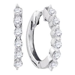 14K White-gold 0.25CTW ROUND DIAMOND LADIES FASHION EAR