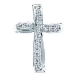 10KT White Gold 0.25CTW DIAMOND CROSS PENDANT