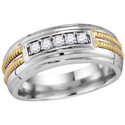 10kt White Gold Mens Round Pave-set Diamond Double Rope