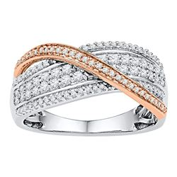 10kt Two-tone White Gold Womens Round Diamond Crossover