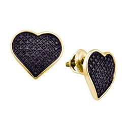 925 Sterling Silver Yellow 0.24CTW DIAMOND HEART EARRIN
