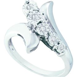 925 Sterling Silver White 0.10CTW DIAMOND FASHION RING