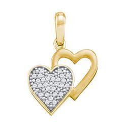 10KT Yellow Gold 0.08CTW DIAMOND HEART PENDANT