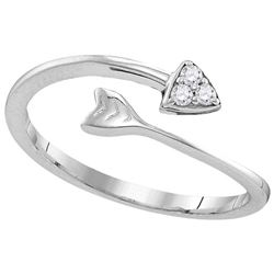Sterling Silver Womens Round Natural Diamond Arrow Fash