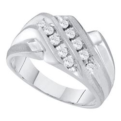 10KT White Gold 0.35CT DIAMOND CLUSTER MENS RING