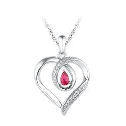 Sterling Silver Womens Pear Lab-Created Ruby Heart Love