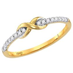 10kt Yellow Gold Womens Round Diamond Infinity Knot Sta