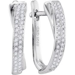 10KT White Gold 0.17CTW DIAMOND MICRO-PAVE HOOPS