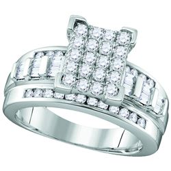 Sterling Silver Womens Round Diamond Rectangle Cluster