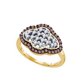 10KT Yellow Gold 0.46CTW COGNAC DIAMOND FLOWER RING