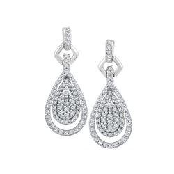 10kt White Gold Womens Round Diamond Teardrop Cluster D