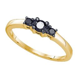 10K Yellow-gold 0.27CTW BLACK DIAMOND MICRO-PAVE RING