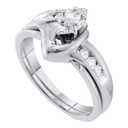 10KT White Gold 0.24CTW DIAMOND MARQUISE CENTER BRIDAL