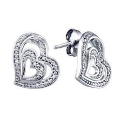 925 Sterling Silver White 0.04CT DIAMOND LADIES HEART E