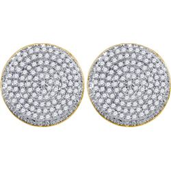 10K Yellow-gold 0.61CT DIAMOND MICRO-PAVE MENS EARRINGS