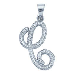 "10KT White Gold 0.19CTW-DIAMOND INITIAL-""C"" PENDANT"