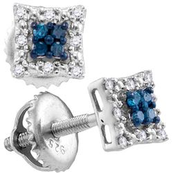 Sterling Silver Womens Round Blue Colored Diamond Squar