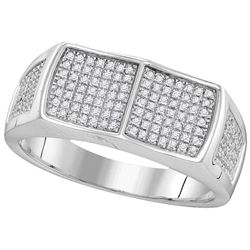 10kt White Gold Mens Round Diamond Double Square Cluste