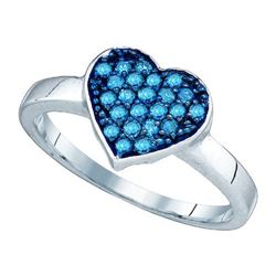 10KT White Gold 0.30CTW BLUE DIAMOND HEART RING
