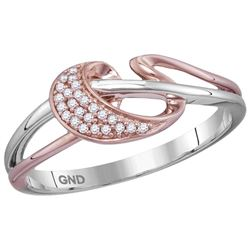 10kt Two-tone Pink Gold Womens Round Natural Diamond Fa