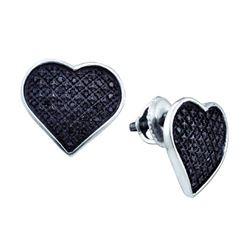 925 Sterling Silver White 0.24CTW DIAMOND HEART EARRING