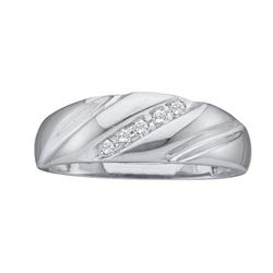14KT White Gold 0.10CTW ROUND DIAMOND MENS FASHION BAND