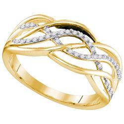 925 Sterling Silver Yellow 0.10CT DIAMOND MICRO-PAVE RI