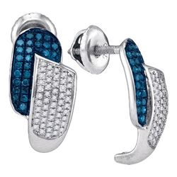 10KT White Gold 0.50CTW BLUE DIAMOND MICRO-PAVE EARRING
