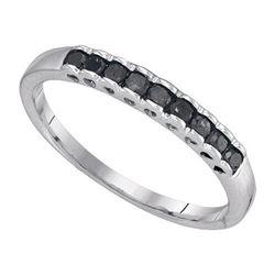 10K White-gold 0.25CTW BLACK DIAMOND FASHION RING